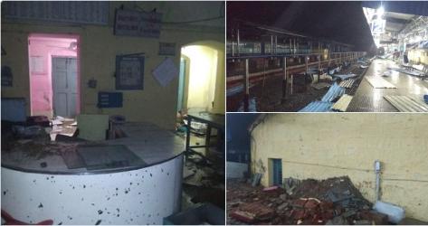 CycloneTitli destructs Palasa railway station in Srikakulam district