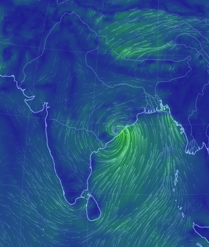 earth a global map of wind, weather conditions India