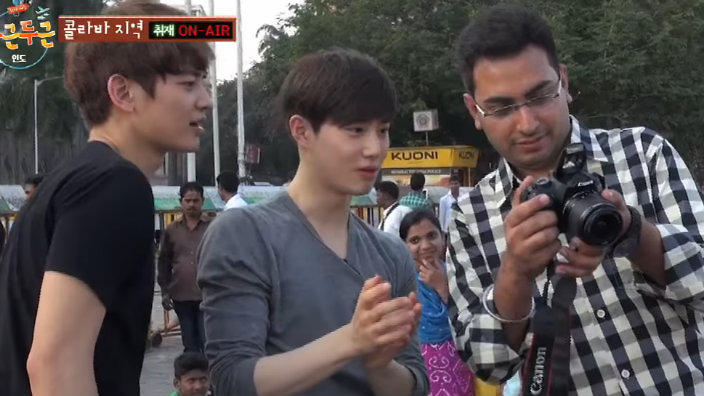 Suho and minho with an Indian